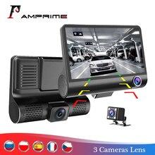 AMPrime 4 Three way Car DVR Camera Video Registrator 170 degree Wide Angle Dash Cam Video Recorder G sensor Dashcam Registrar