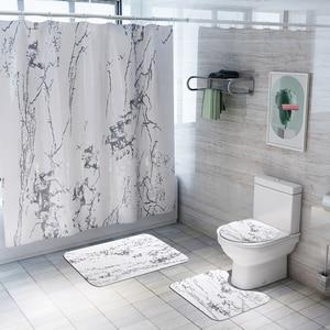 Image 2 - バスマットフック浴室の敷物セット抗床のカーペットシャワー大理石プリントトイレカバーカーペットセット