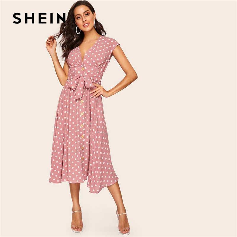 SHEIN Vintage Polka dot baskı kuşaklı gömlek düğmesi elbise kadınlar 2019 yaz Cap Sleeve V boyun uzun düz vites elbiseler