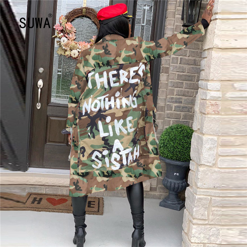 Street Hipster Personality Letter Camouflage Printed Cool Women's Coat Top Long Sleeve Casual X-Long Jacket Ladies Military