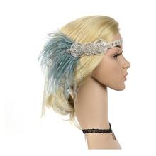 Diadema de plumas 1920s y Diadema de pelo de pavo real de diamantes hecha a mano y tocado de novia Vintage