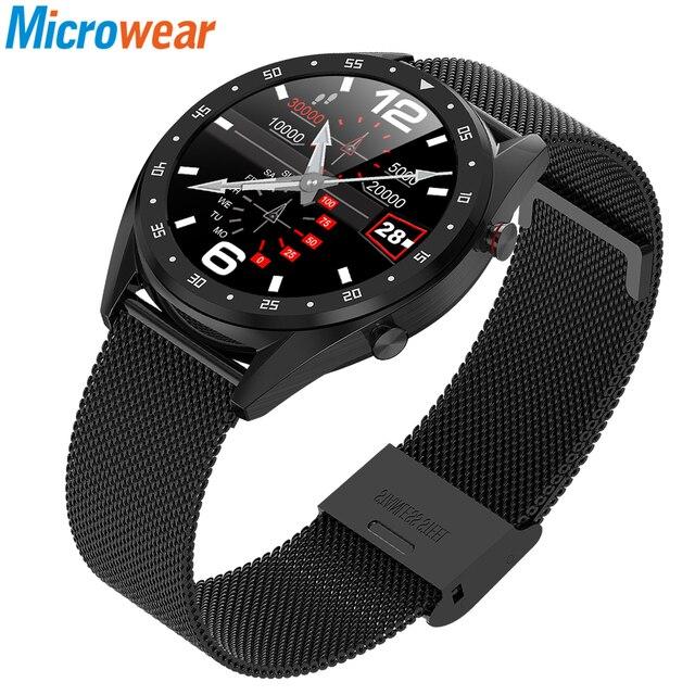 Microwear L7 スマートウォッチフィットネスブレスレットIP68 防水トラッカー腕時計ecg心拍数モニターコールリマインダスマートウォッチの男性