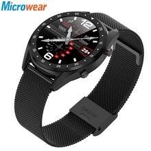Microwear l7 smartwatch de fitness ip68, à prova d água rastreador relógio de pulso ecg monitor de frequência cardíaca chamada lembrete masculino