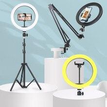 Éclairage de photographie d'usb de lumière d'anneau de LED de Dimmable avec le socle de bureau de bras Long de trépied pour la lampe de remplissage de Studio de Photo vidéo de flux en direct