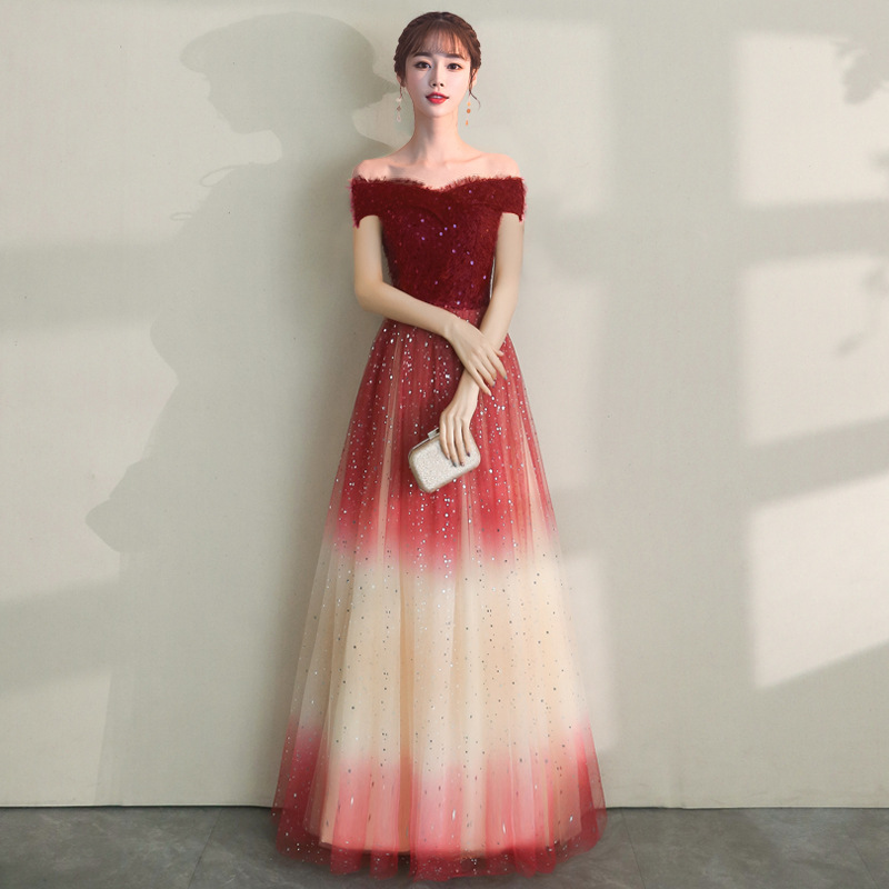 Beauty-Emily 2019 Boat Neck Sequins Evening Dresses Long Gradient Color Stary Party Dress Prom Gowns Robe De Soiree