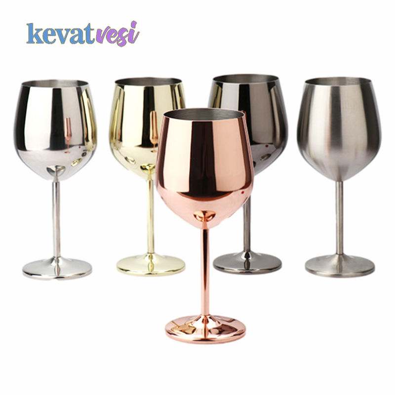 Stainless Steel Goblet Wine Glass Champagne Coupes Cup Cocktail Glass for Wine Party Bar Restaurant Red Wine Cup 150/250/500ML