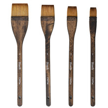 4PC/Lot 256Flat High Quality Goat Hair Wooden Handle Watercolor Artist Art Supplies Paint Brush