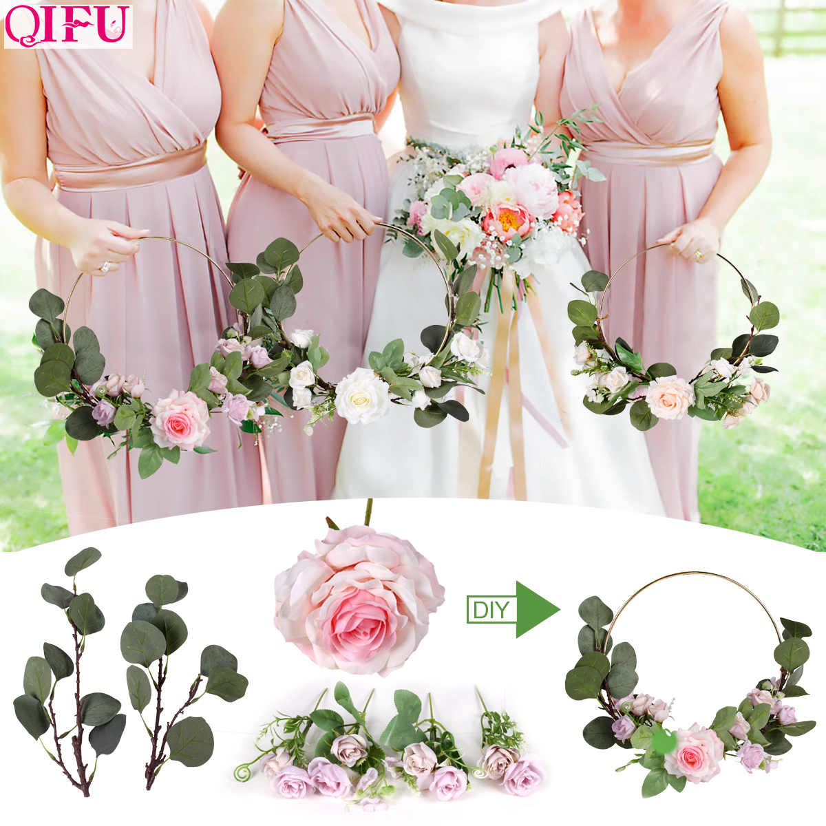 QIFU Metal Ring Wreath And Artificial Flower Wedding Door Hanging Decor Bridesmaid Handheld Garland Hawaiian Party Supplies