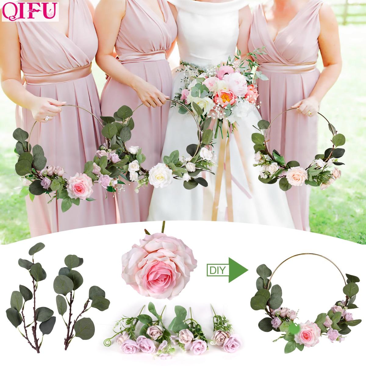 QIFU Metal Ring Wreath And Artificial Flower Wedding Door Hanging Decor Bridesmaid Handheld Garland Hawaiian Party Supplies