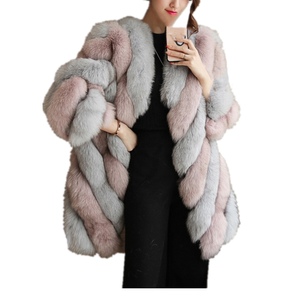 Women Fashion Winter Long Sleeve Luxury Faux Fox Fur Coat Warm Coat Overcoat Thick Faux Fur Jacket Coat Long Fur Coat Outwear