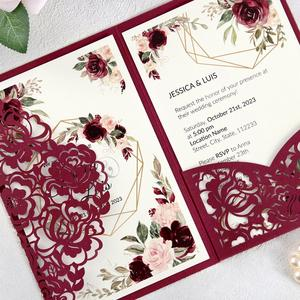 Image 2 - 100pcs Burgundy Laser Cut Floral Invitation Cards for Wedding / Party / Quinceanera / Anniversary /  Birthday, CW0008