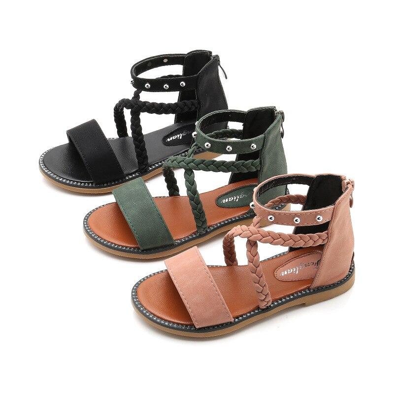 2020 Newest Girls Sandals Bow Summer Student Princess Sandals Beads Hollow Soft Bottom Children's Sandals White Pink Size 27-37