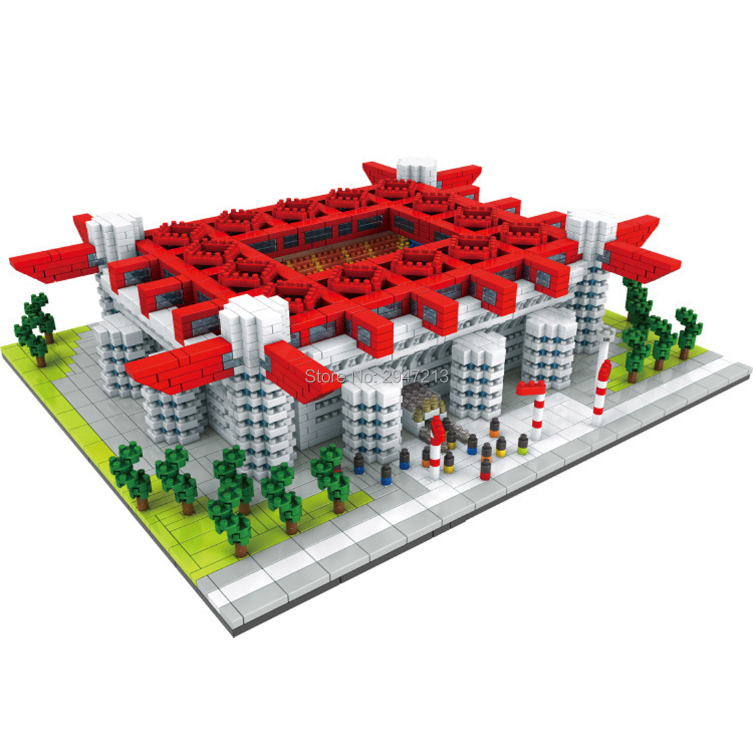 hot Lepining city classic creators architecture <font><b>inter</b></font> AC <font><b>Milan</b></font> San Siro <font><b>Soccer</b></font> field model mini micro diamond block brick toys image