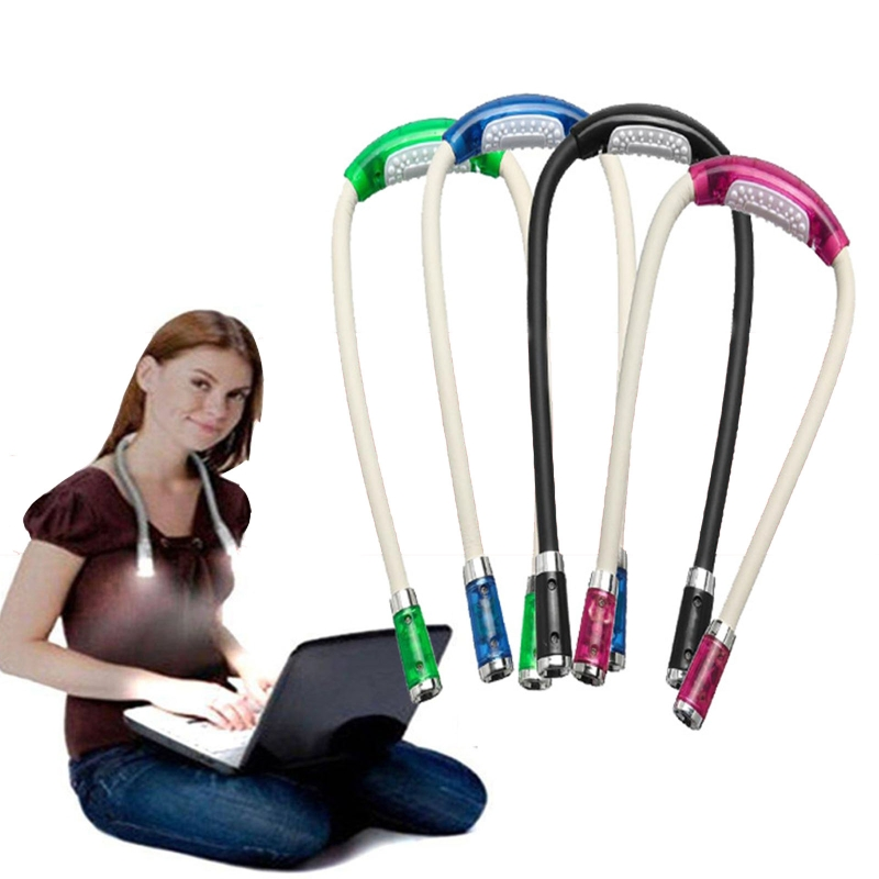 4 LED Hanging Neck Book Light Bendable Eye Protection Reading Light Outdoor Night Running Walking Camping Neck Lamp