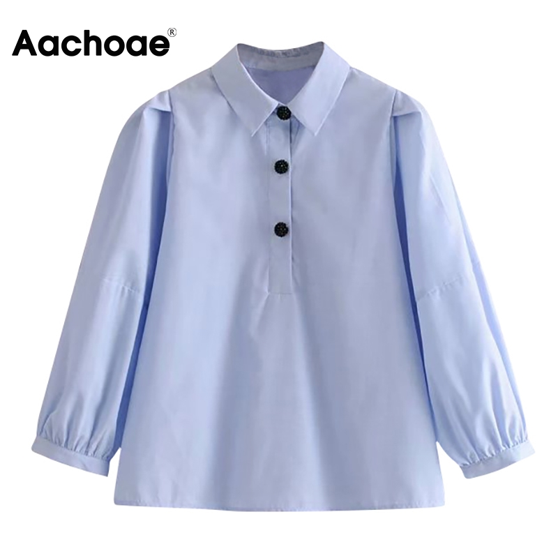 Aachoae Women Loose Casual Blue Shirt Blouses 2020 Beading Button Puff Sleeve Blouse Turn Down Collar Solid Office Shirts