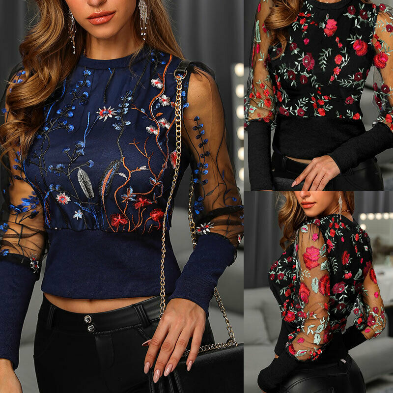 2020 Women's Casual Sport Blouse Shirt Tops Long Sleeve Sexy Lady Loose Jumper Pullover Net See Through Black Blue S-2XL