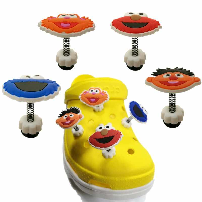 1pcs Sesame Street Croc Charms Elmo Cookie Monster Spring Shoe Charms Anime Accessories Shoes Decor Jibz Kids Birthday Gift