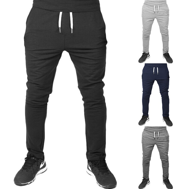 Summer New Style Men Casual Sports Pants Men's Fitness Slim-Fit Pants Thin Solid Color Skinny Running Trousers Unginned Cotton M