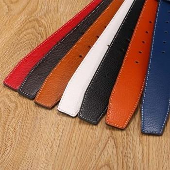 KAWEIDA 3.8cm Wide Cowskin Men's Genuine Split Leather No Without Buckle Waist Belt Body Belts 110-140cm Kemer Cinto 7 Colors kaweida black 42