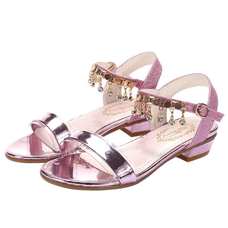 Girls Kids Sandals High Heels New Summer Style Peep Toe Children Sandals for Girl Princess Dance Shoes Glitter Bowtie