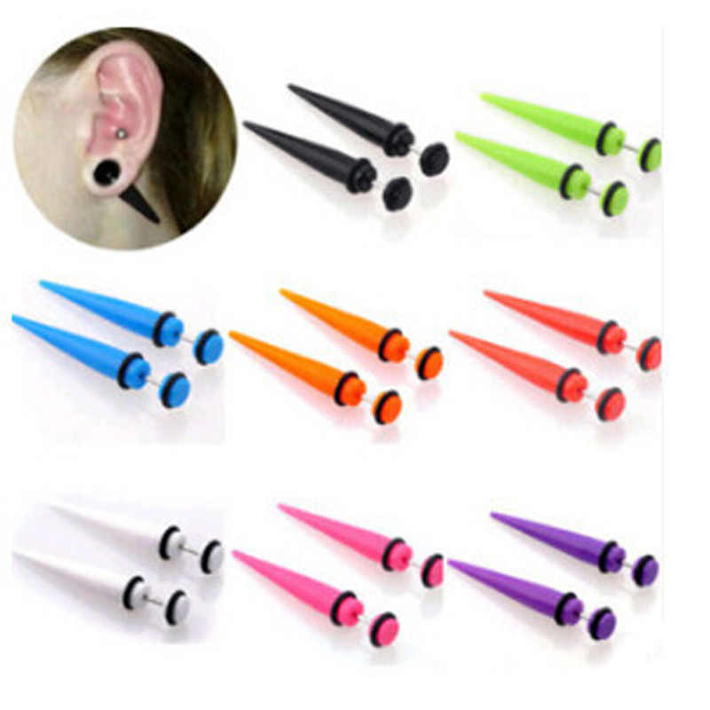 Piercing Ring UV Acrylic Illusion Ear Fake Cheater Stretcher Taper Spike Cheater Plug Tunnel Expander Earring Gauge Body Jewelry