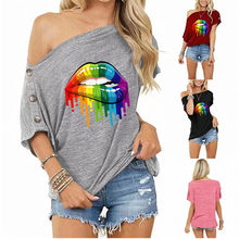 2021 Summer New Womens Flower Rainbow Lip Slash Neck Button Vintage Pullover Off Shoulder Sexy Casual Solid Color Harajuku Tops