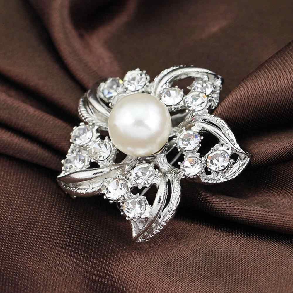 Fashion Gaun Dekorasi Aksesoris Anggun Bunga Berbentuk Rhinestones Bertatahkan Bros Warna Berlapis Perak