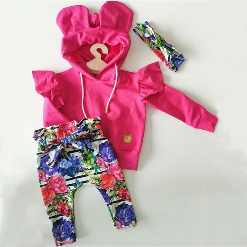 Infant Baby Girl Clothes Sets 0-24M Floral Print Hooded Pullover Tops Pants Headband Outfits Set Clothes