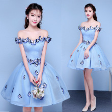 Pretty Butterfly Blue Cocktail Dresses Off the Shoulder Short Homecoming Sweet Prom Party Gowns 2020