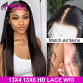 HD прозрачные кружевные парики прямые кружевные передние человеческие волосы парики предварительно выщипанные с детскими волосами Remy браз...