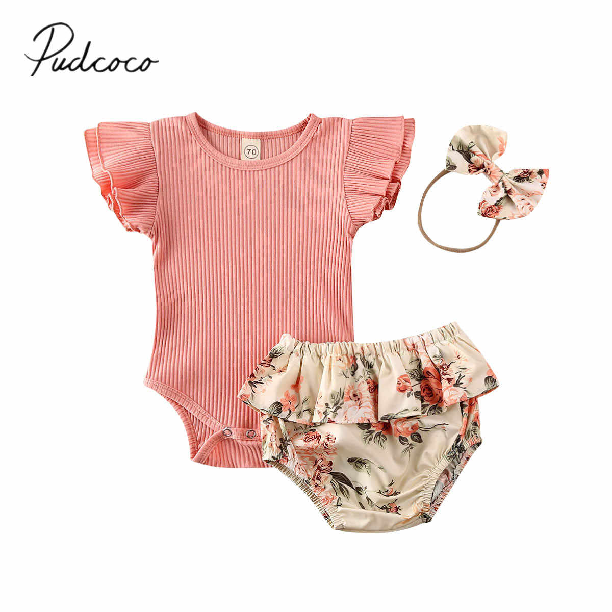 2020 Baby Summer Clothing Infant Newborn Baby Girl Ruffled Ribbed Bodysuit Floral Shorts Headband 3Pcs Set