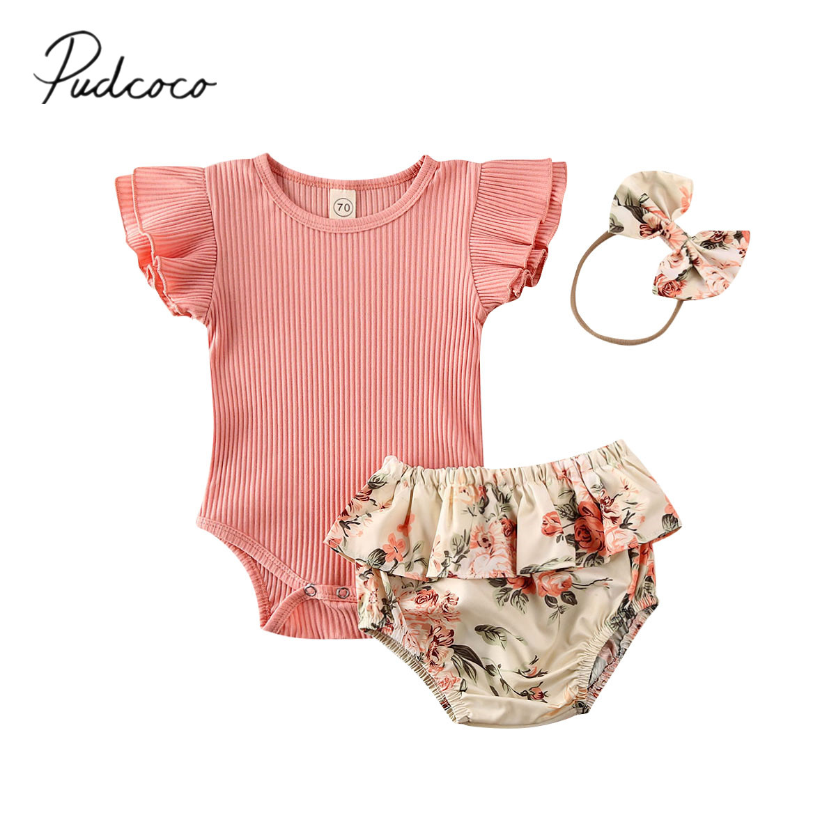 Newborn Infant Baby Girl Clothes Romper Jumpsuit Ruffle Bodysuit Floral Pants Outfits with Headband 3Pcs Sets