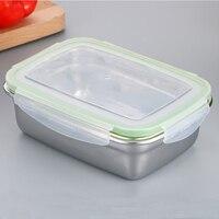 Aço inoxidável retangular caixa de armazenamento ambientalmente amigável portátil recipiente de armazenamento de alimentos geladeira à prova de vazamento ao ar livre