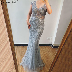Image 2 - Serene tepe gri lüks v yaka Mermaid abiye tasarım 2020 Dubai tam elmas seksi örgün parti kıyafeti CLA70063