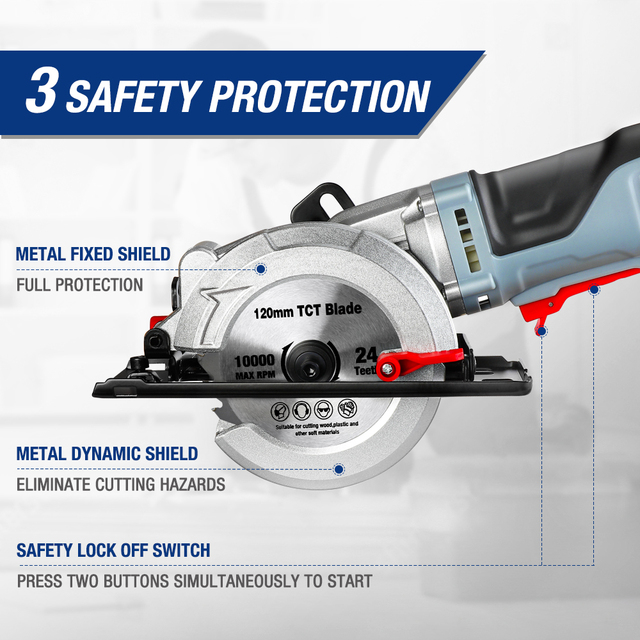 WORKPRO Electric Mini Circular Saw Power Tools 750W Multifunctional Electric Saw With TCT Blade and Diamond Blade Sawing Machine 2