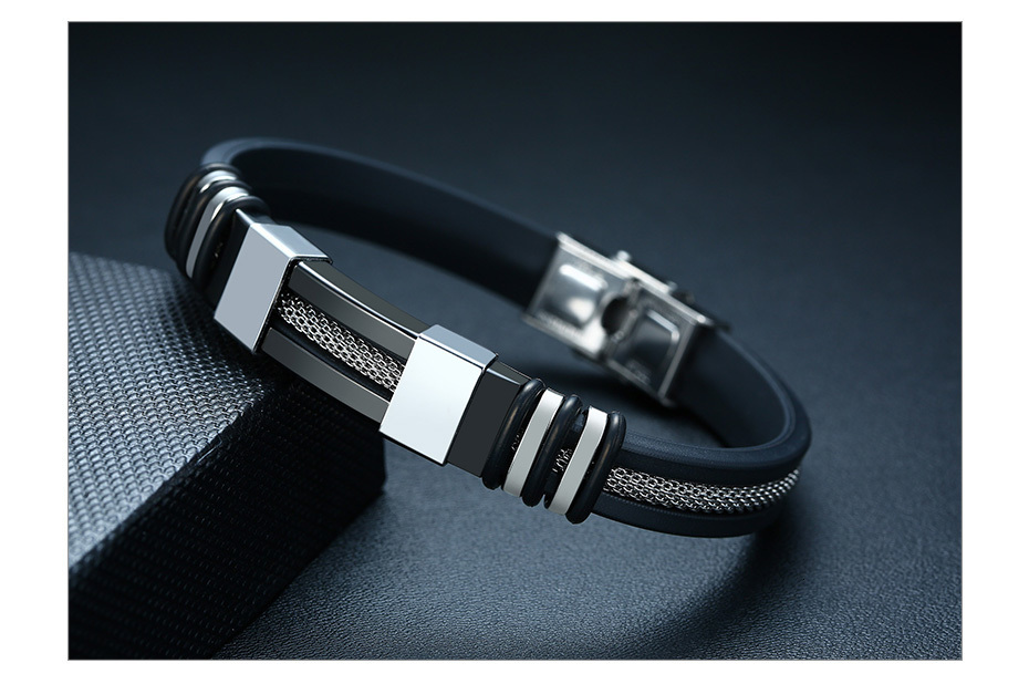 He637c8865733433780a533e1b0f2a027I - Stainless Steel Bracelet Men Wrist Band Black Grooved Rudder Silicone Mesh Link Insert Punk Wristband Stylish Casual Bangle