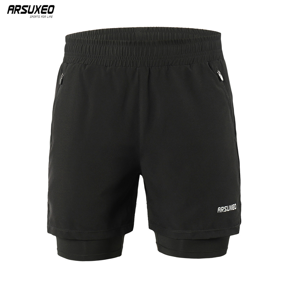 ARSUXEO 2019 <font><b>Men</b></font> Running <font><b>Shorts</b></font> <font><b>2</b></font> <font><b>in</b></font> <font><b>1</b></font> Active Training Exercise Jogging Sports <font><b>Shorts</b></font> Gym <font><b>Shorts</b></font> Dry fit Breathable B191 image