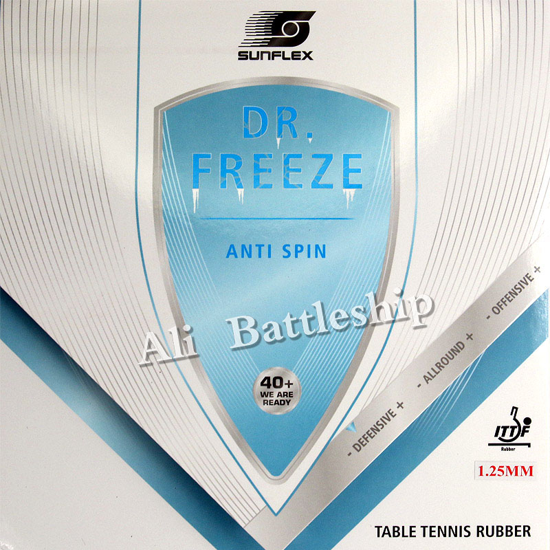 SUNFLEX DR.FREEZE ARC-PROOF Anti-arc (Anti-loop, Anti Spin, Defensive) Anti Power Rubber With Sponge 1.25mm Cake Sponge Light