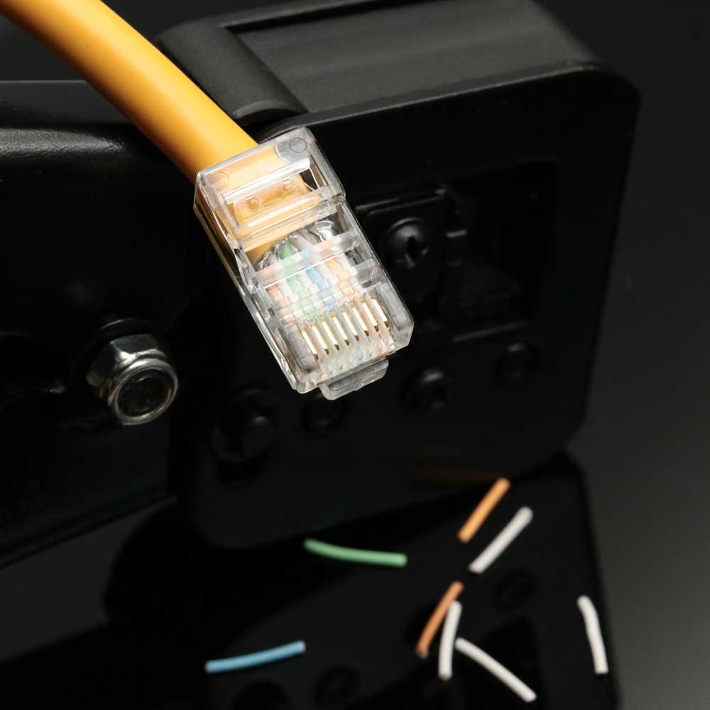 500 Uds RJ45 conector Cat5E Cat6 RJ45 macho blindado FTP 8P8C red conectores de crimpado