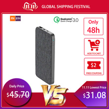 New Xiaomi ZMI 10000mAh Power Bank Fashion Gray Cloth QC3.0 PD Type-C PD Two-Way Quick Charge 18W External Battery for iPhone