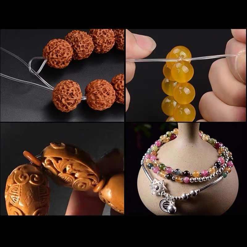 Fio elástico para bijuteria, fio para miçangas e cristais, transparente, acessórios para pulseira e colar diy, 1 rolo