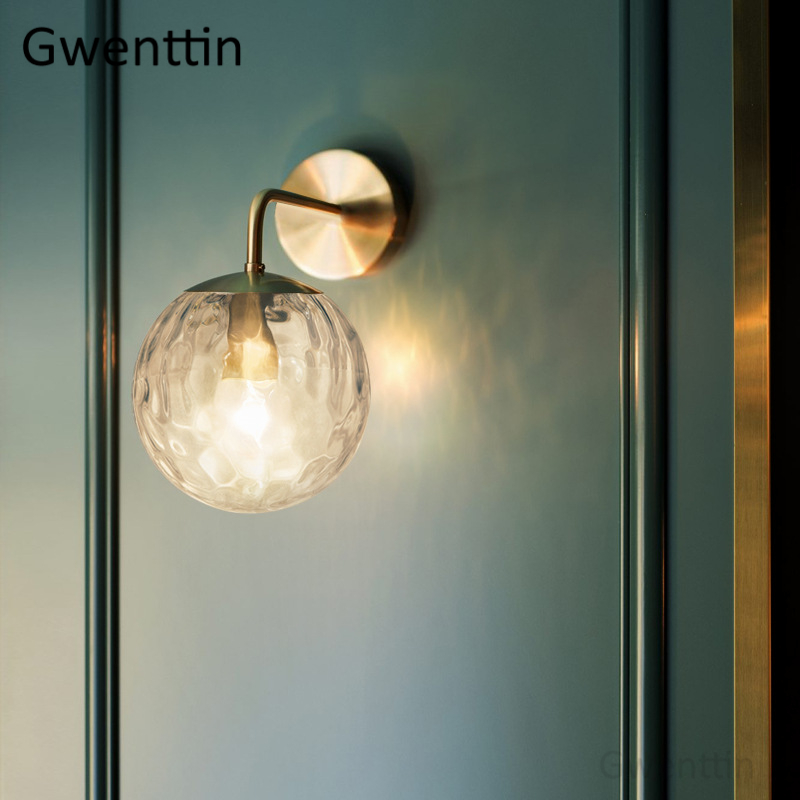 Nordic Gold Glass Wall Lamp for Bathroom Bedroom Stair Light Mirror Lights Home Wall Sconce Lighting Fixtures Industrial Decor-in LED Indoor Wall Lamps from Lights & Lighting