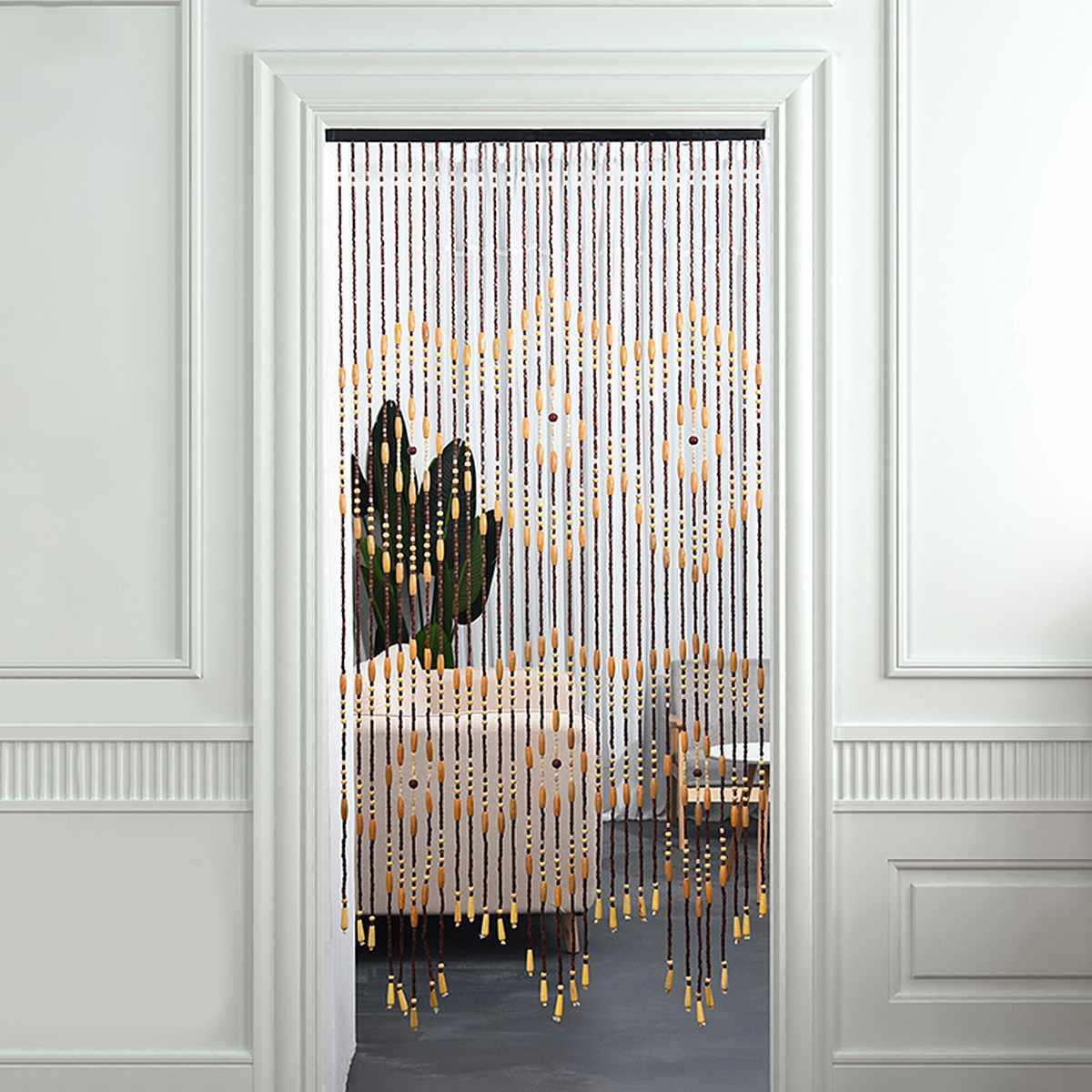 rideau en perles de bois de couloir 90x175cm 31 lignes 6 prunes ecran volant en forme irreguliere stores en haricots faits a la main pour decor de