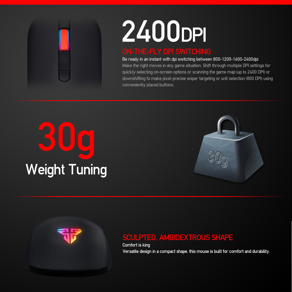 Image 3 - FANTECH G10 Professional Gmae Cable Mouse Adjustable 4800 DPI RGB 4 Button Optical mouse gaming for PC Notebook Game mice-in Mice from Computer & Office