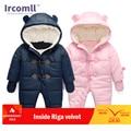 Lrcoml mantener grueso cálido bebé mamelucos ropa de invierno recién nacido bebé niña mameluco mono chico capucha Niño ropa de abrigo para 0 -24M