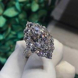 Женское Обручальное Кольцо Marquise cut, винтажное обручальное кольцо из стерлингового серебра 925 пробы с бриллиантами, 3 карата, ювелирные издел...