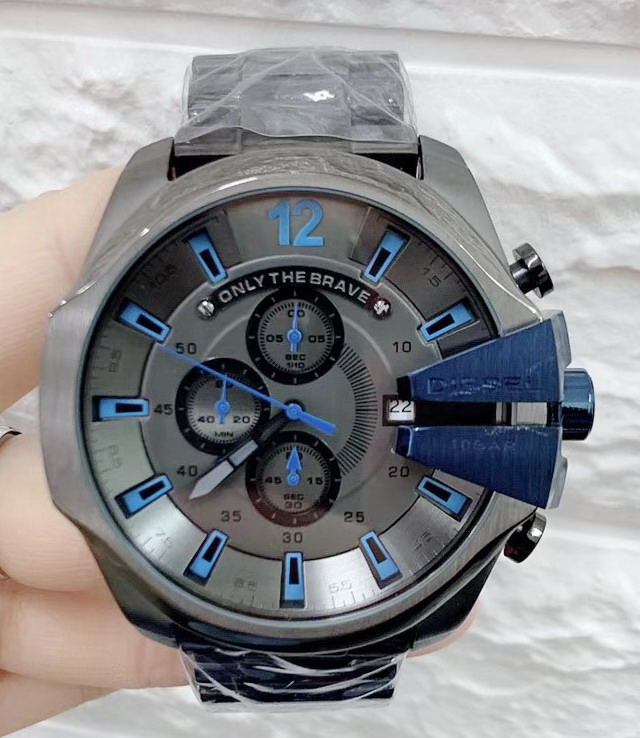 Luxury Brand New Stainless Steel Full Black Case Men Watch Chronograph Sapphire Sport StopWatch Big Watches Black Grey Blue AAA