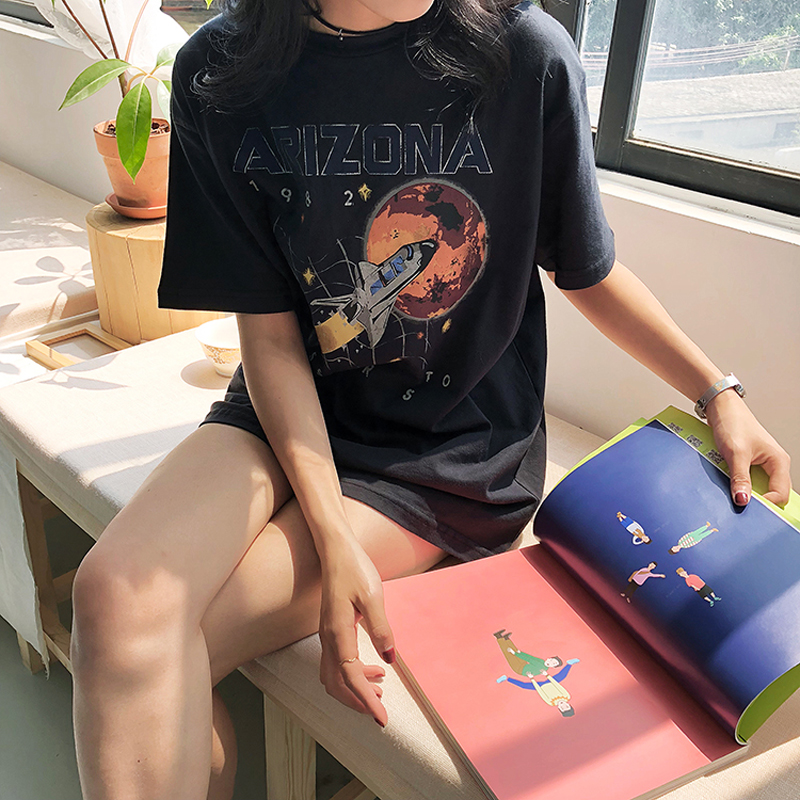 Casual Simple Wild T-Shirt Women Camisetas Verano Mujer 2019 Mission To Mars Spacecraft Print Arizona Cotton Loose T-Shirt Black image