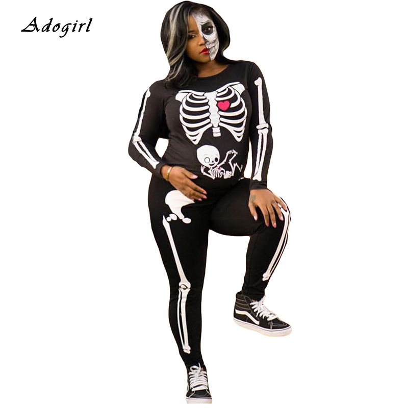 Halloween Passion Feast Skeleton Of Human Print Jumpsuit Women Black O Neck Bodycon Jumpsuit Sexy Skinny Overalls Cosplay