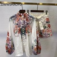 ZIWWSHAOYU Autumn Women Vintage Linen Suits Runway Designer Floral Print Tops And Ladies Bow Belt Shorts 2 Two Pieces set